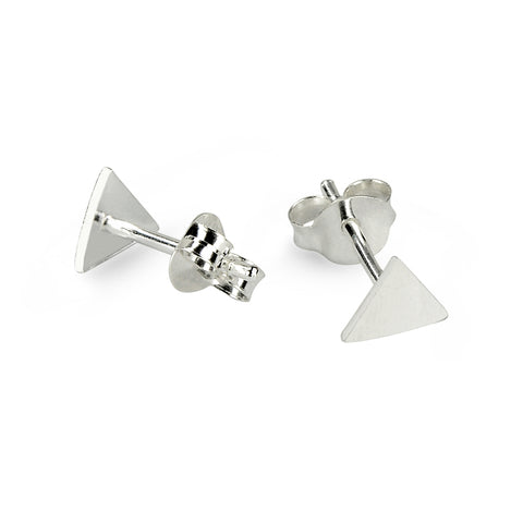 Glossy Silver Triangle Stud Earrings
