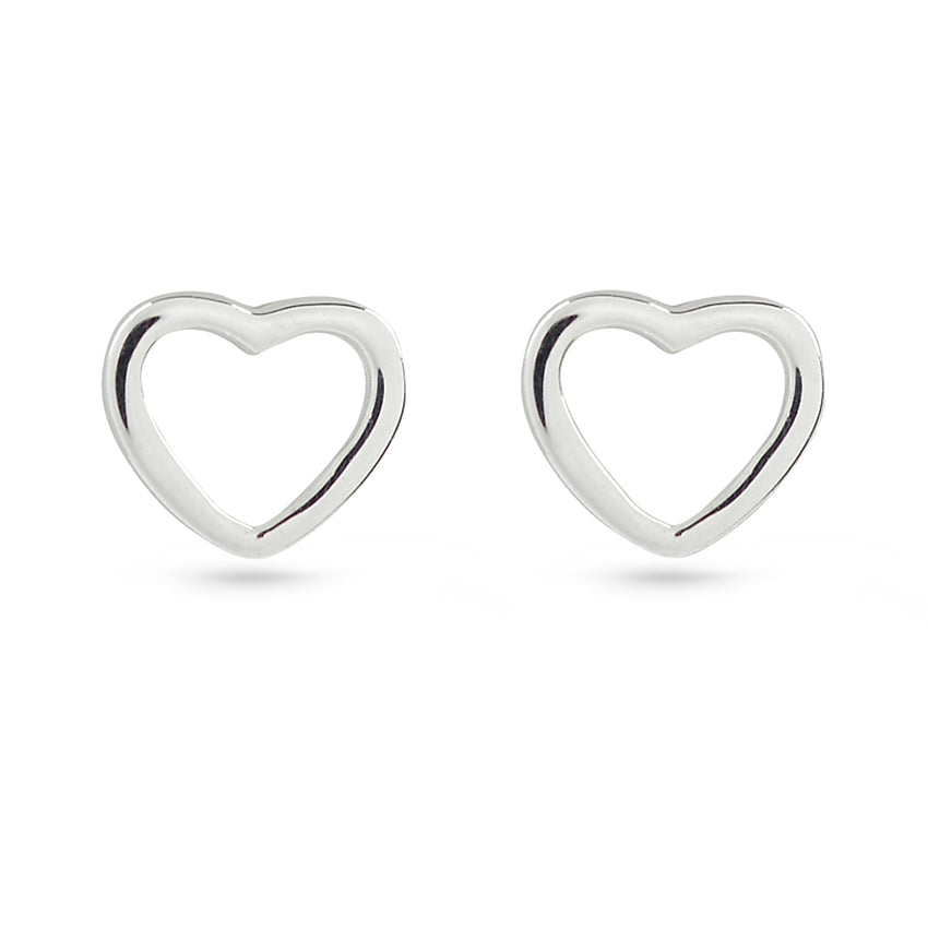 Gold Plated Heart Frame Sterling Silver Stud Earrings – Boccai