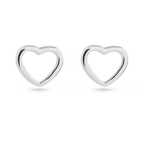 Silver Heart & Heart Frame Stud Earrings