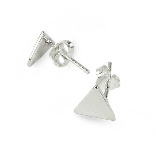 Glossy Look Triangle Sterling Silver Stud Earrings Large