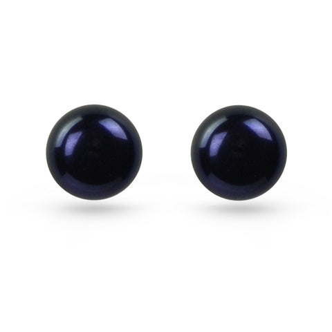 Black Pearl Stud Earrings (8mm)