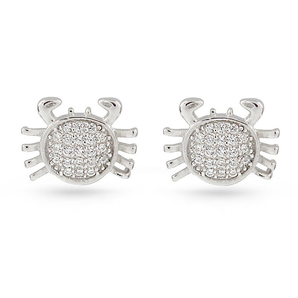 Star Sign Cancer Crab June July Cubic Zirconia Sterling Silver Stud Earrings