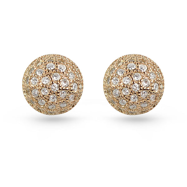 Silver Ball Rose Gold Plated White Cubic Zirconia Stud Earrings