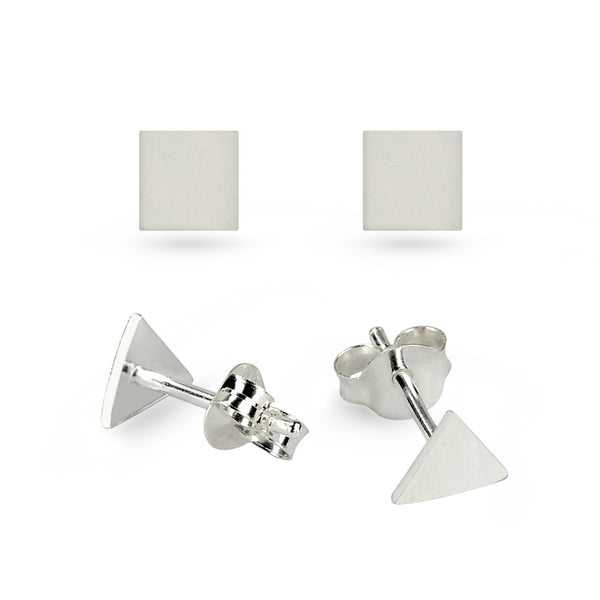 319acfa31 Triangle & Square Sterling Silver Stud Earrings Small – Boccai