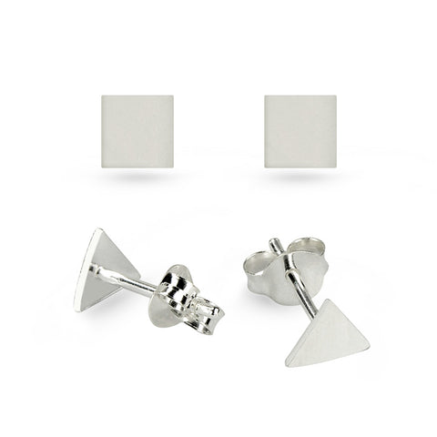 Silver Triangle & Square Stud Earrings