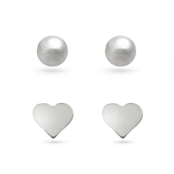 Ball and Heart Stud Earrings Sterling Silver