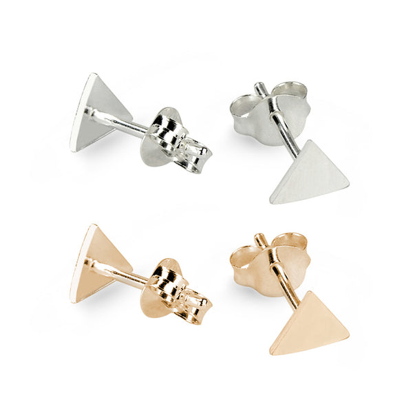 Silver Triangle and Rose Gold Plated Triangle Sterling Silver Stud Earrings Bundle