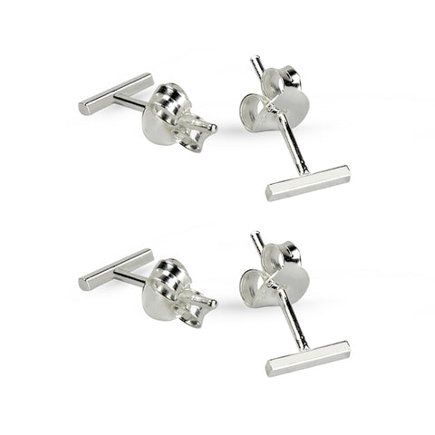Two Pairs Silver Bar Stud Earrings