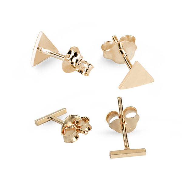 Rose Gold Plated Triangle And Bar Sterling Silver Stud Earrings Bundle