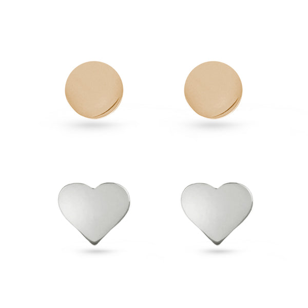 Rose Gold Circles And Silver Heart Stud Earrings Sterling Silver