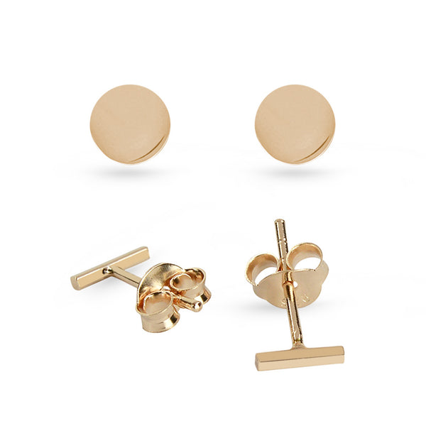 Rose Gold Plated Circle And Bar Sterling Silver Stud Earrings Bundle