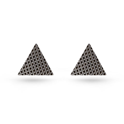 Triangle Silver Checker Pattern Stud Earrings