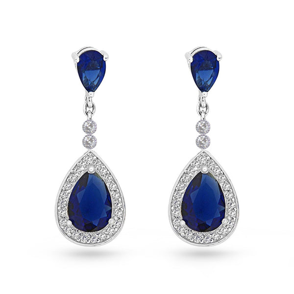 Sapphire Blue Cubic Zirconia Tear Drop Sterling Silver Pear Drop Earrings