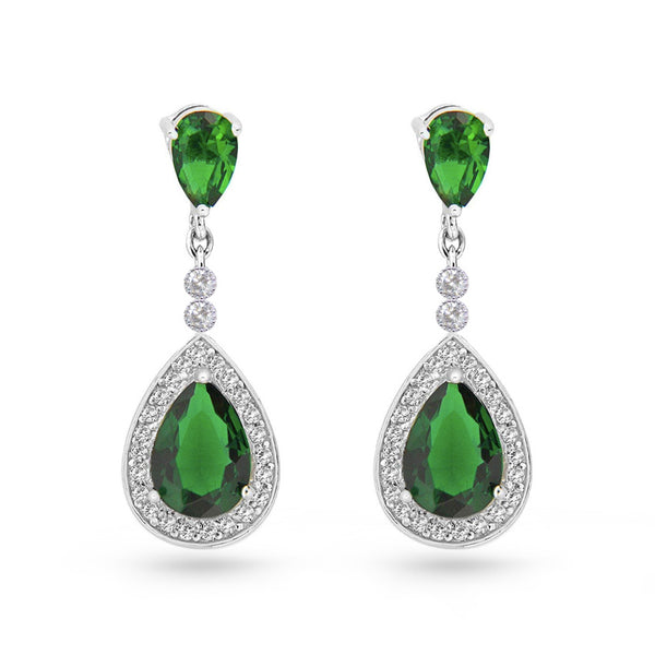 Emerald Green Cubic Zirconia Tear Drop Pear Drop Earrings
