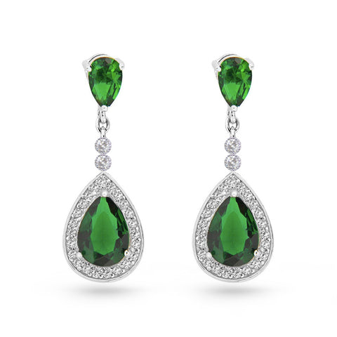 Emerald Green Cubic Zirconia Pear Drop Earrings