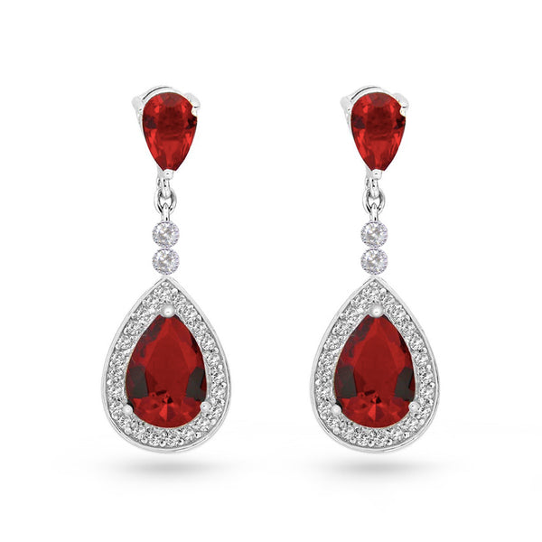 Ruby Red Cubic Zirconia Tear Drop Sterling Silver Pear Drop Earrings