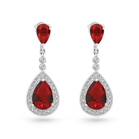 Ruby Red Cubic Zirconia Pear Drop Earrings
