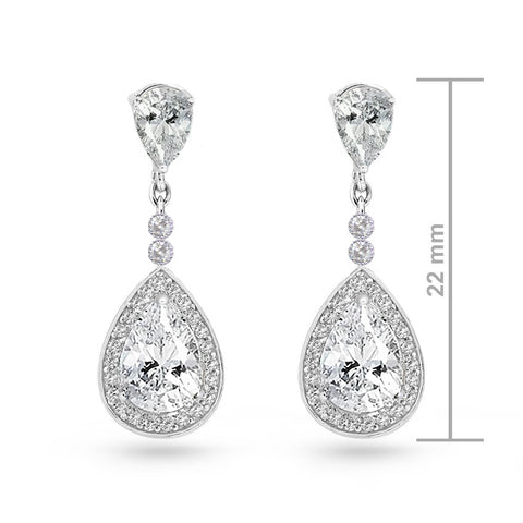 Crystal White Cubic Zirconia Pear Drop Earrings