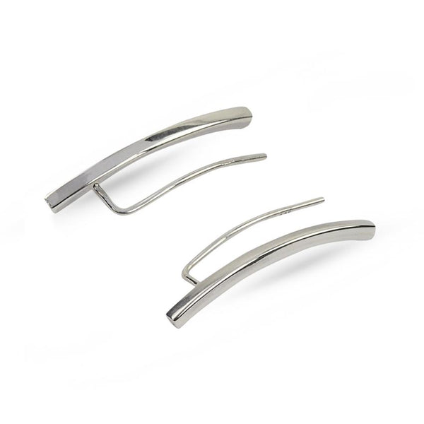 Curve Silver Simple Climber Earrings
