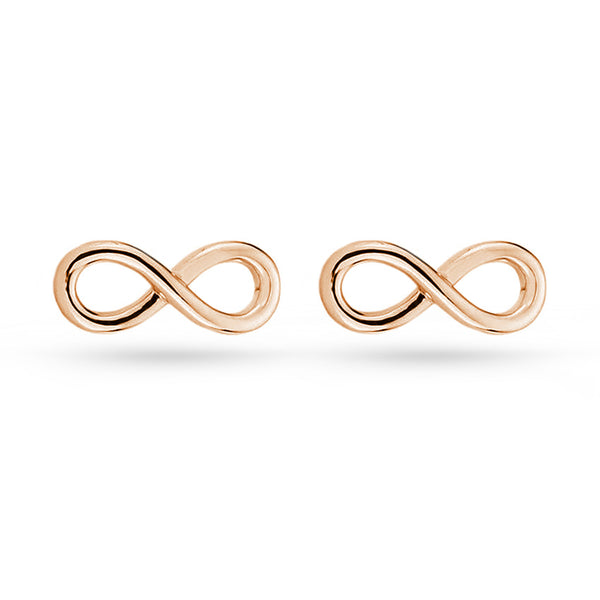 Silver Rose Gold Infinity Forever Love Stud Earrings