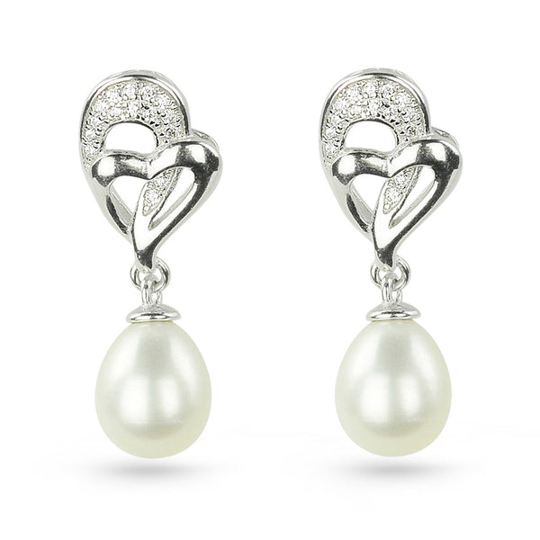 Sterling Silver Heart Freshwater Pearl And Cubic Zirconia Drop Earrings