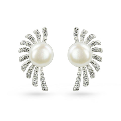 Freshwater Pearl Cubic Zirconia Spanish Fen Stud Earrings
