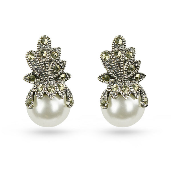 4beadc49f Sterling Silver Marcasite Pearl Stud Earrings – Boccai