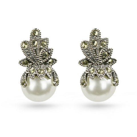 Sterling Silver Marcasite Pearl Stud Earrings