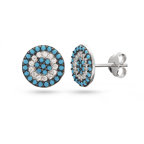 White gold plated turquoise stone and white cubic zirconia sterling silver stud earrings