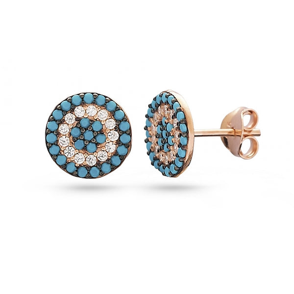 Rose gold plated turquoise stone and cubic zirconia gold plated sterling silver stud earrings