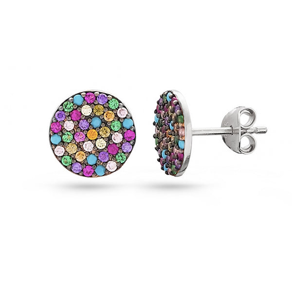 White gold plated turquoise stone and rainbow cubic zirconia sterling silver stud earrings