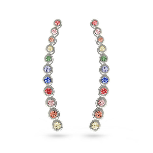Multi color rainbow cubic zirconia gold plated circle ear cuffs climber earrings