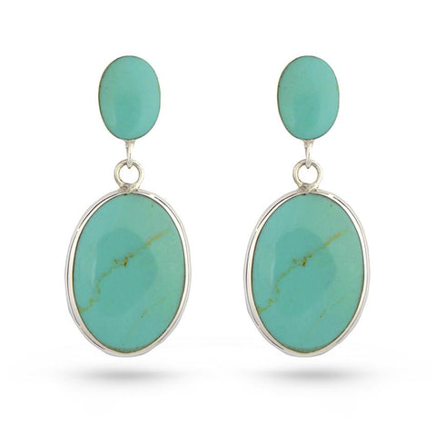 Green Turquoise Oval Drop Earrings
