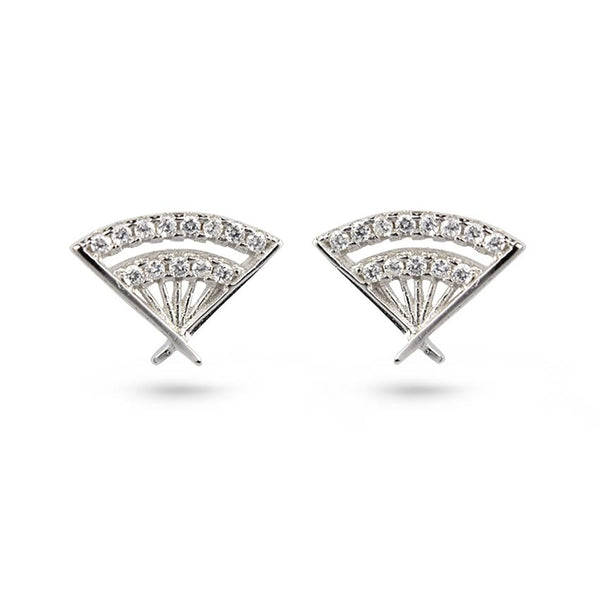 Cubic Zirconia Hand Fan Rhodium Plated Silver Stud Earrings