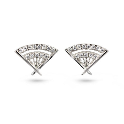CZ Hand Fan Silver Stud Earrings