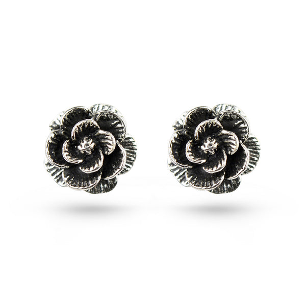 Oxidised Rose Sterling Silver Stud Earrings