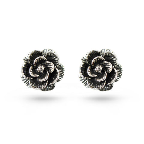 Oxidised Rose Silver Stud Earrings