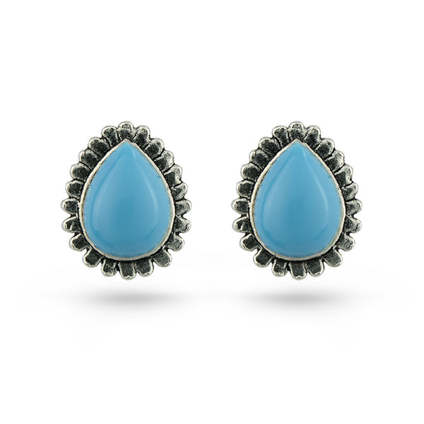 Sky Blue Turquoise Stone Tear Shaped Silver Stud Earrings