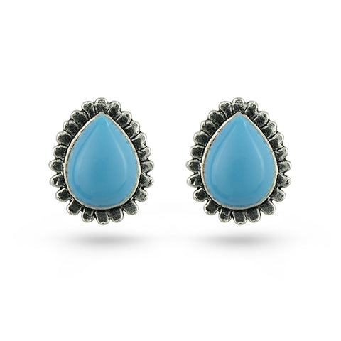 Sky Blue Stone Tear Drop Stud Earrings