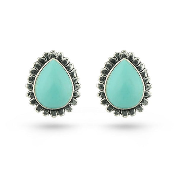 Light Green Turquoise Stone Tear Shaped Silver Stud Earrings