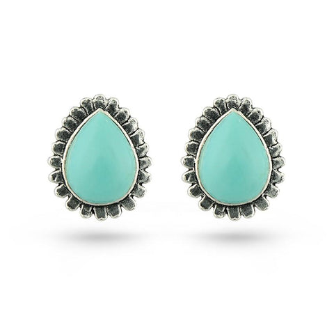 Turquoise Stone Tear Drop Stud Earrings