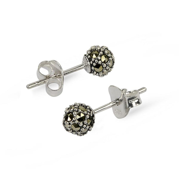 Marcasite Ball Sterling Silver Rhodium Stud Earrings