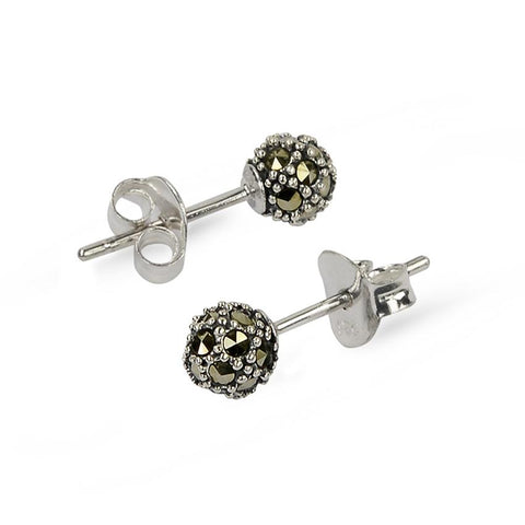 Marcasite Silver Ball Stud Earrings (6mm)