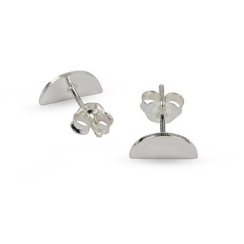 Silver Half Circle Stud Earrings