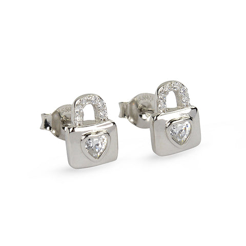 CZ Heart Secret Lock Stud Earrings