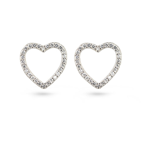 Cubic Zirconia Heart Frame Stud Earrings