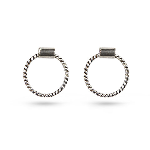 Oxidised Silver Rope Circle Stud Earrings