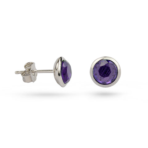 Amethyst Purple February Birthstone Silver Stud Earrings