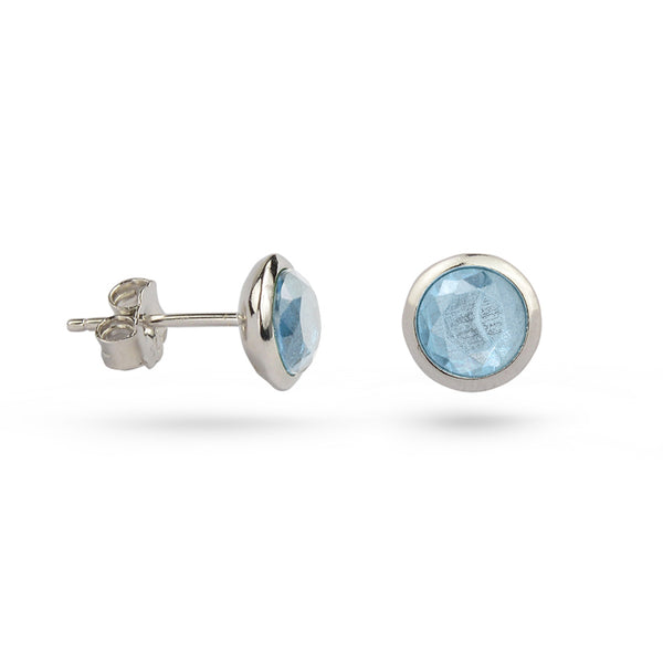 Aquamarine March Birthstone Sterling Silver Stud Earrings Gold Plated
