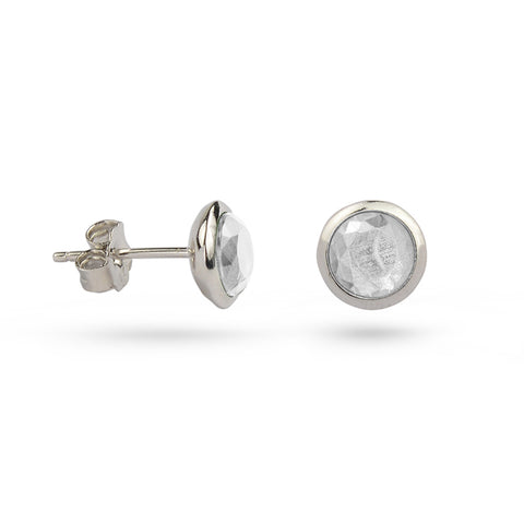Crystal White April Birthstone Silver Stud Earrings